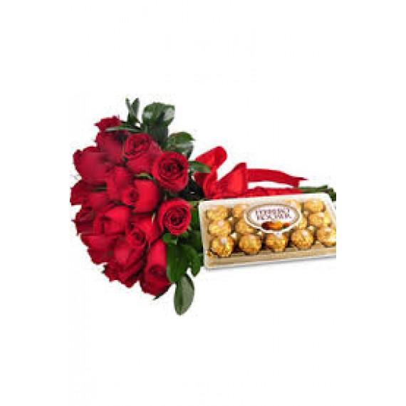 Buquê Ferrero co 25 Rosas