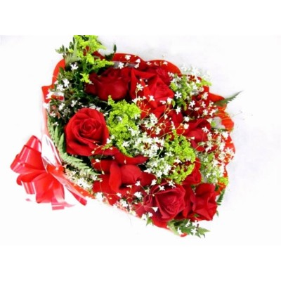 Buquê 08 rosas vermelhas