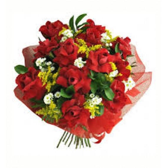 Buquê Amor Cléo com 12 Rosas Colombianas