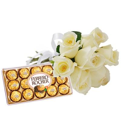 Buquê 7 Rosas Brancas e Chocolate
