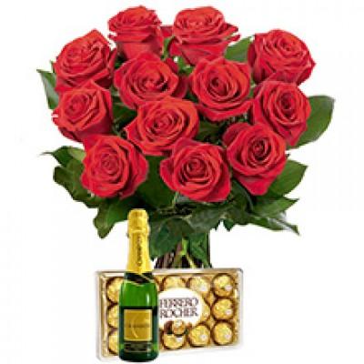 Rosas vermelhas com Ferrero e Chadon
